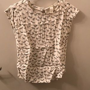 H&M zebra blouse with keyhole back